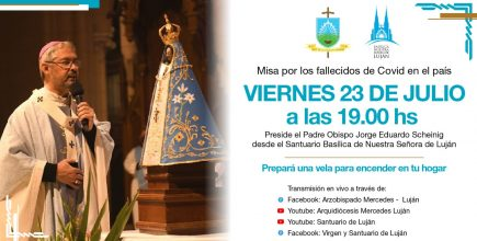 El Arzobispo presidirá la Eucaristía este viernes 23 de Julio a las 19 hs desde la Basílica de Luján